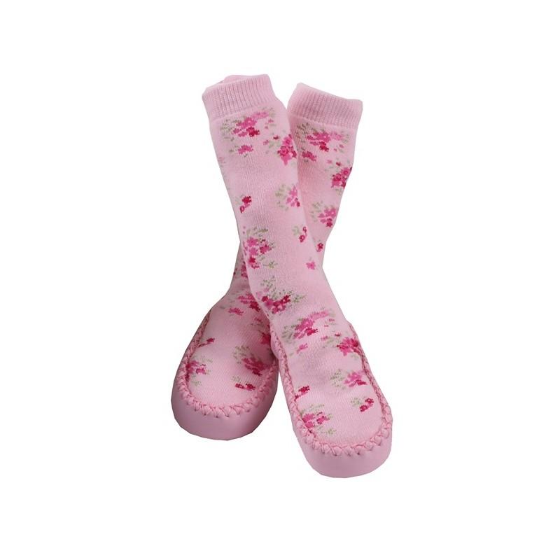 Пантофи с чорап розови цветя