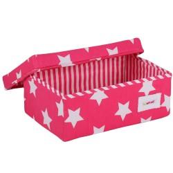Малка кутия Фучия на бели звезди