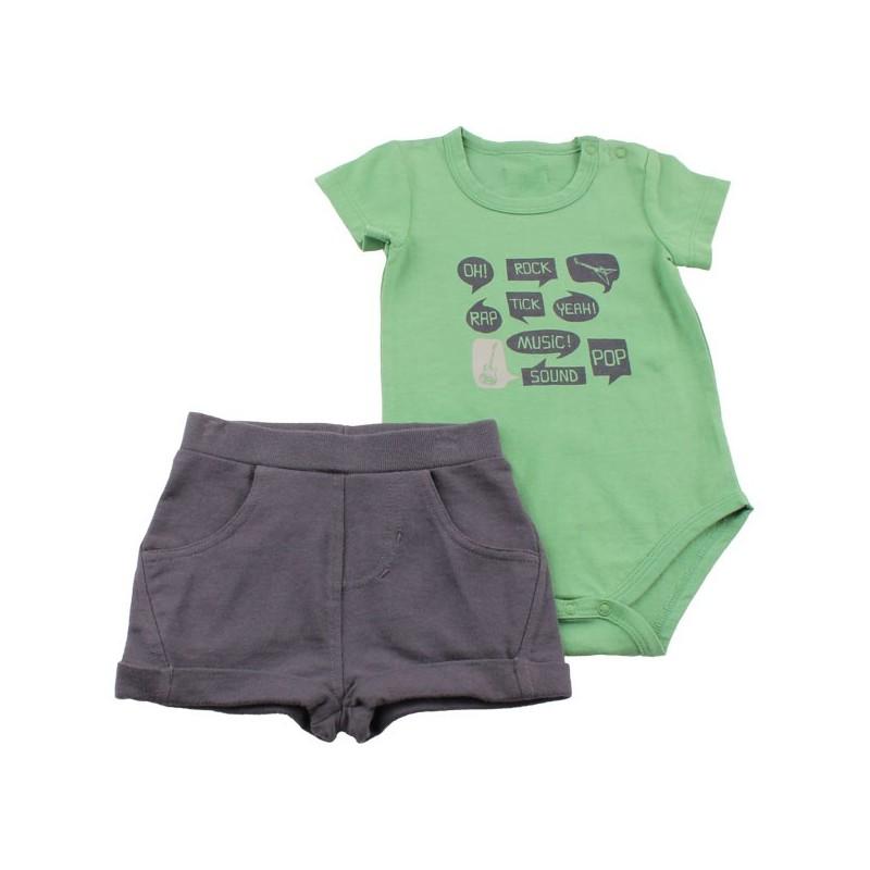 Боди с панталонки Зелено+синьо