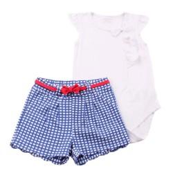 Боди с панталонки Бяло+синьо каре
