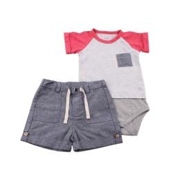 Боди с панталонки сив меланж+червено