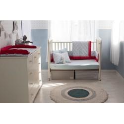 Луксозен спален комплект Светло синьо+цветя