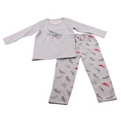 Зимна пижама фланел Сиво+самолет