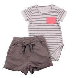 Боди с панталонки Райе+сиво