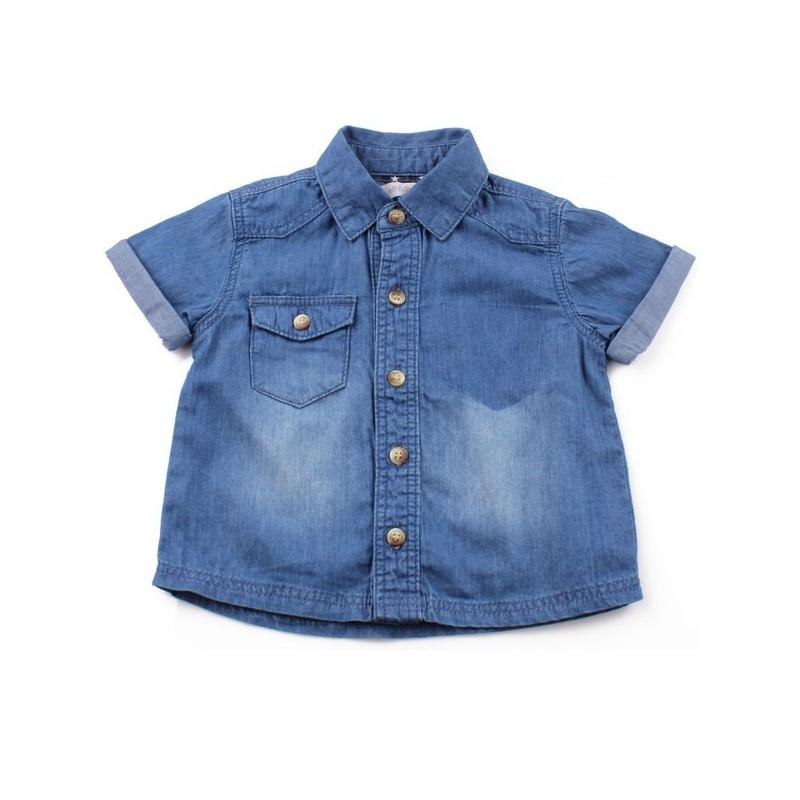 Риза къс ръкав деним тъмносиньо