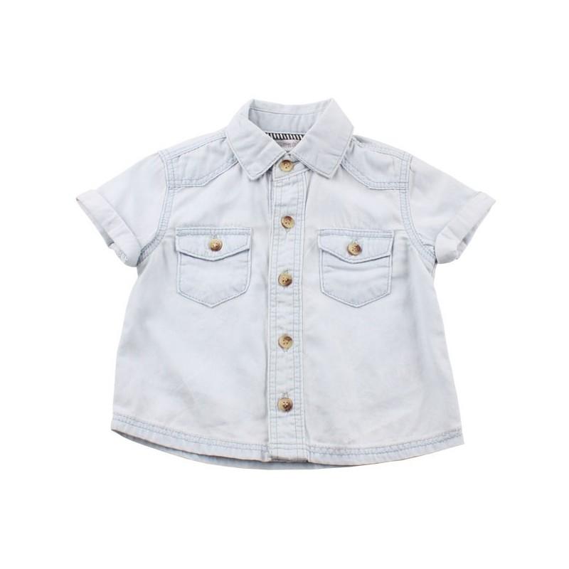 Риза къс ръкав деним светлосиньо