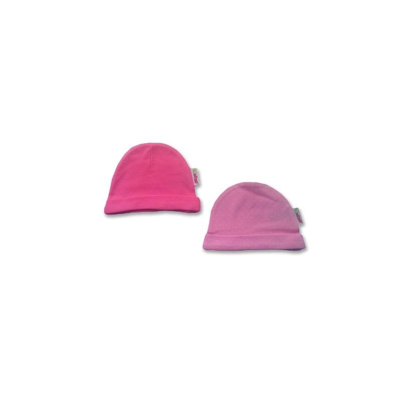 К-кт 2бр шапки новородено Розово с точки+Фучия