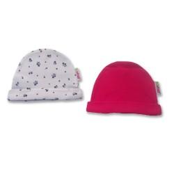 К-кт 2бр шапки новородено Бяло с цветя+Фучия