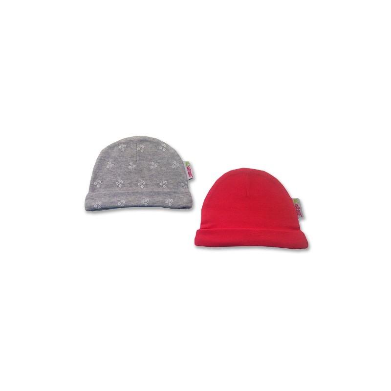 К-кт 2бр шапки новородено Сиво+розово