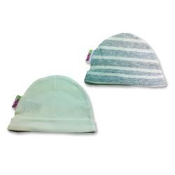 К-кт 2бр шапки новородено Крем+сиво райе