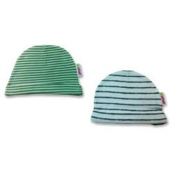 К-кт 2бр шапки новородено Зелено+синьо райе
