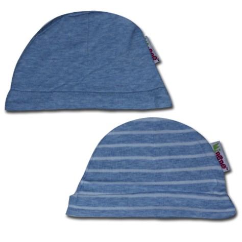 К-кт 2бр шапки новородено Синьо+синьо райе