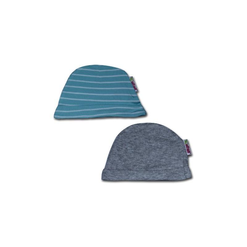 К-кт 2бр шапки новородено Сив меланж+тюркоаз райе