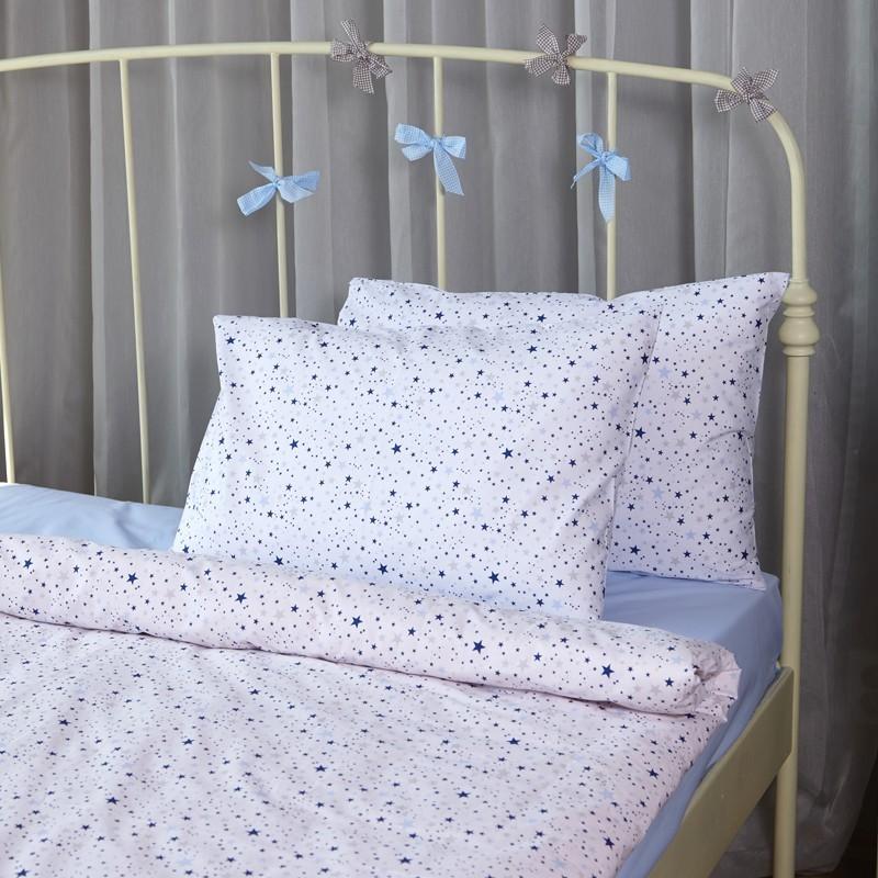 Единичен спален комплект Сини звезди мулти