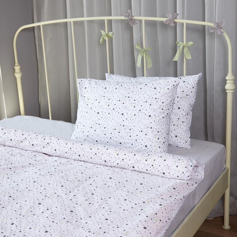 Единичен спален комплект Зелени звезди