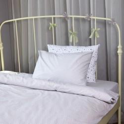 Единичен спален комплект Сиви точки