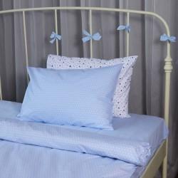Единичен спален комплект Сини точки