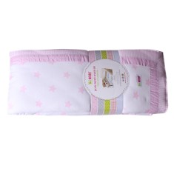 Луксозен спален комплект за люлка Крем+розови звезди