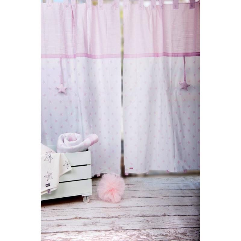 Завеси Крем+розови звезди