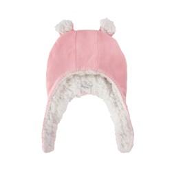 Пухкава шапка Розово и Бяло