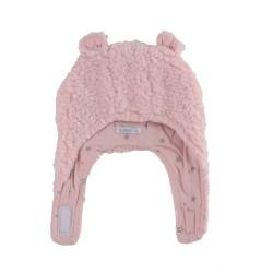 Пухкава шапка Розово+ Сиви Звезди