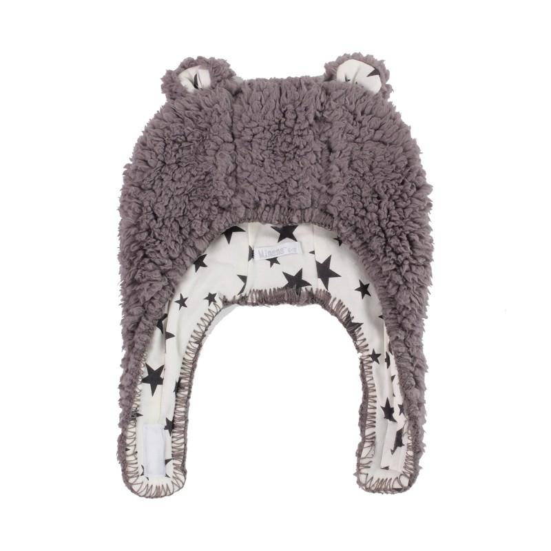 Пухкава шапка Т.сиво+Бели звезди