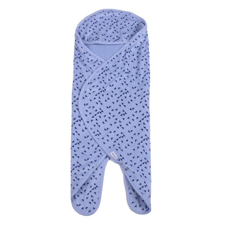 Кадифена пелена беб. синьо+триъгълници