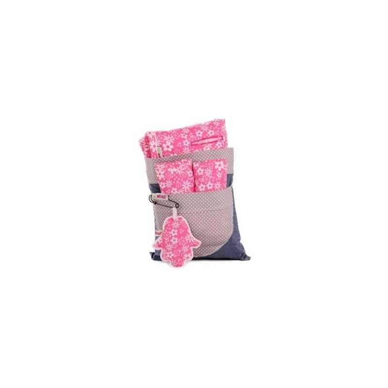 Облегалка за количка с протектори розово + бели цветя