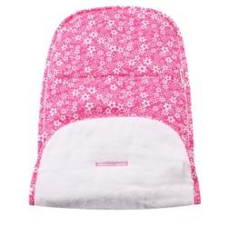Хавлиена облегалка за количка розово с бели цветя