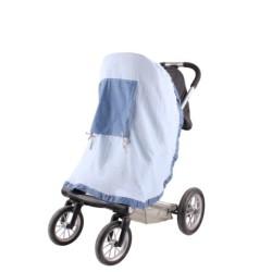 Сенник за детска количка тензух син+ сини точки