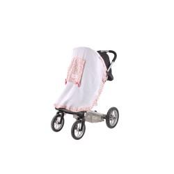 Сенник за детска количка тензух бял с цветя