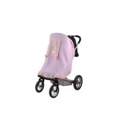 Сенник за детска количка тензух розов с цветя