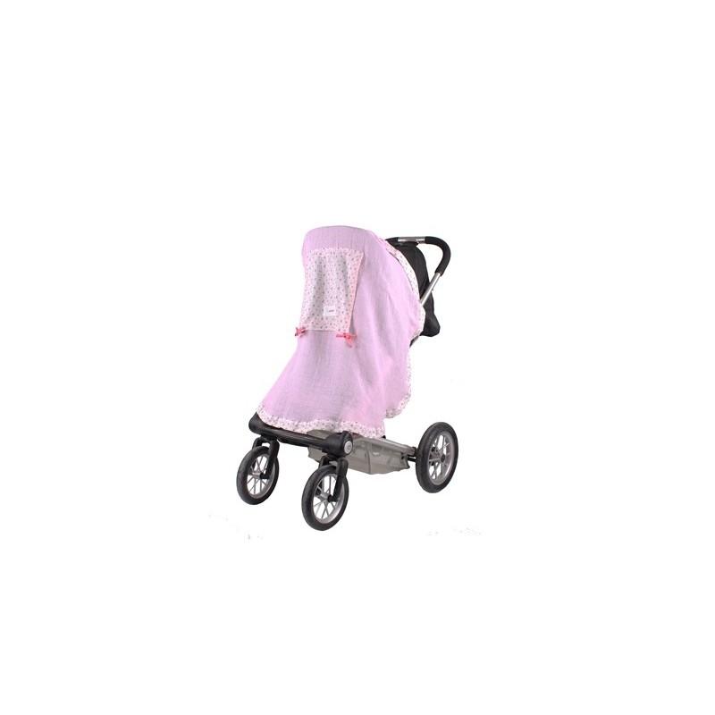 Сенник за детска количка тензух розов с розови цветя