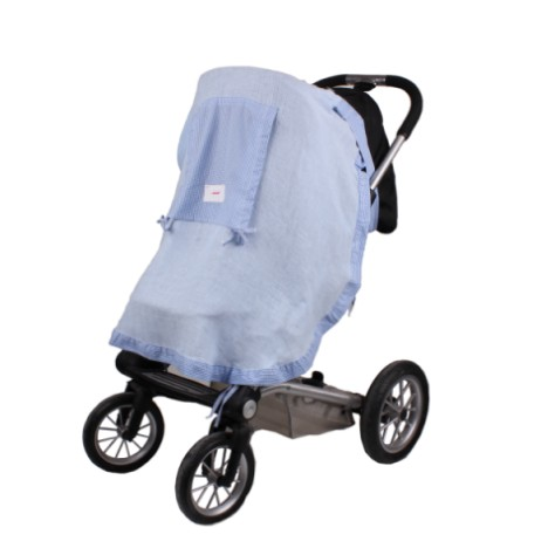 Сенник за детска количка тензух син+ синьо каре