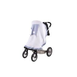 Сенник за детска количка тензух бял+ синьо каре
