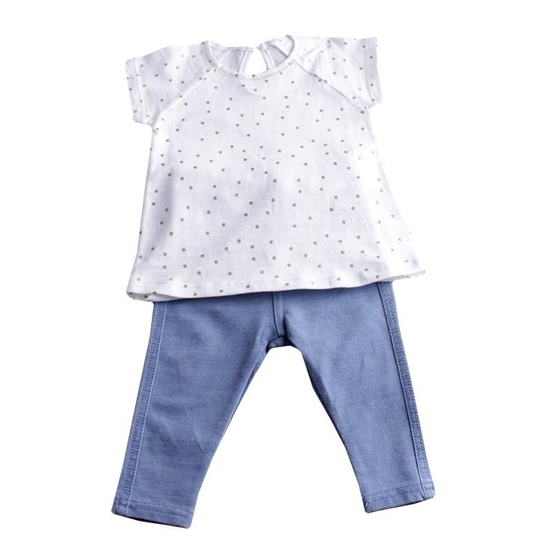 Блуза с клин сребърни точки + синьо