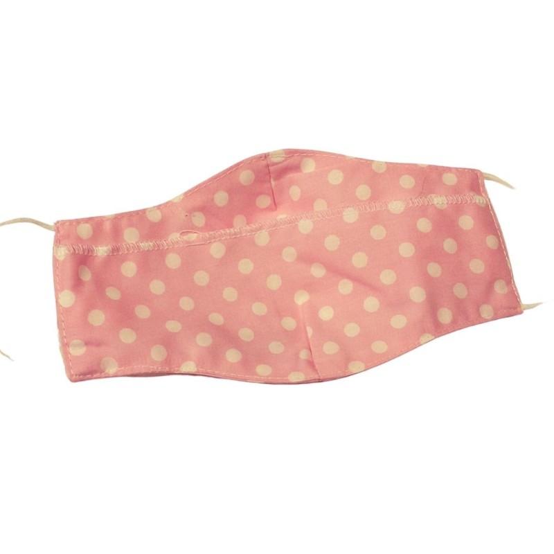 Текстилна маска роз. точки